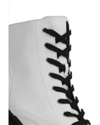 AKIRA - Lace Up Lug Sole Platform White Ankle Boots - Lyst
