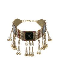 TOPSHOP - Metallic Square Chain Tassel Collar - Lyst