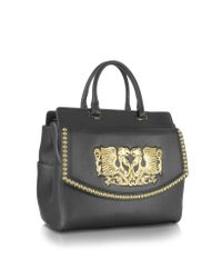 Roberto Cavalli - Aphrodite Jewel Goldtone With Studs And Black Leather Tote - Lyst