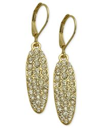 T Tahari | Metallic Silver-tone Glass Stone Oval Drop Earrings | Lyst