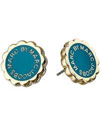 Marc By Marc Jacobs | Green Enamel Scalloped Logo Disc-O Studs Earrings | Lyst