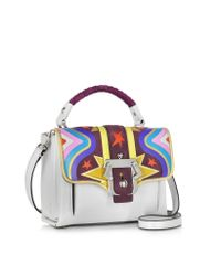 Paula Cademartori | White Dun Dun Intarsio Big Bang Ice Grey Leather And Suede Satchel | Lyst