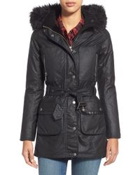 Barbour | Black 'katana' Waxed Cotton Parka With Faux Fur Trim | Lyst