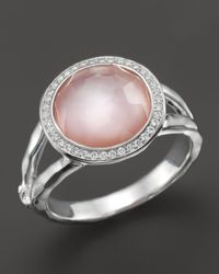 Ippolita - Sterling Silver Stella Mini Lollipop Ring In Pink Mother-Of-Pearl Doublet With Diamonds - Lyst