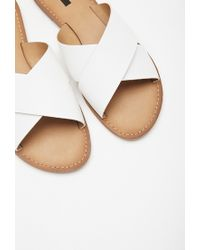 Forever 21 - White Faux Leather Crisscross Sandals - Lyst