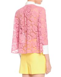 Valentino - Pink White-Cuff-And-Collared Lace Blouse - Lyst