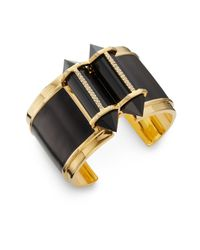 CC SKYE | Black Onyx Leather Inlay Cuff Bracelet | Lyst