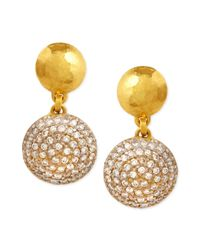 Gurhan | Metallic Lentil Ice 24k Gold & Diamond Drop Earrings | Lyst