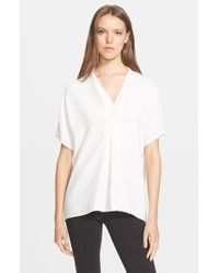 Vince - White 'double V' Crepe Top - Lyst