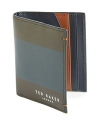 Ted Baker | Brown 'lionns' Stripe Small Bifold Wallet for Men | Lyst