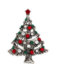 John Lewis | Metallic Silver Plated Glass Stone Christmas Tree Brooch | Lyst