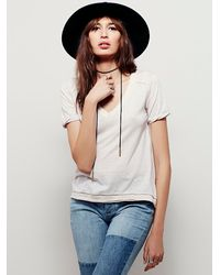 Free People - Brown We The Free Pearls Tee - Lyst