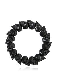 Alexander McQueen - Black Matte Skulls Bracelet for Men - Lyst