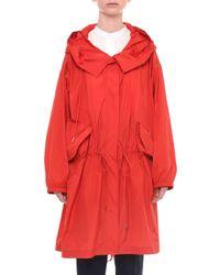 Jil Sander - Red Button-front Taffeta Rain Coat - Lyst