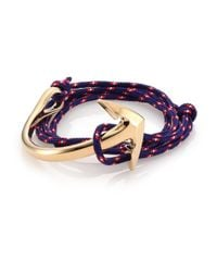 Miansai - Blue Half Anchor Triple-Wrap Rope Bracelet - Lyst