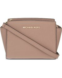 MICHAEL Michael Kors | Pink Selma Mini Saffiano Leather Messenger Bag | Lyst