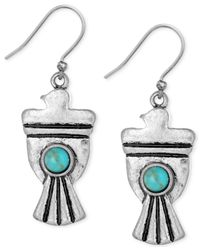 Lucky Brand - Blue Silver-tone Stone Bird Earrings - Lyst