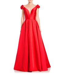 Jovani | Red Taffeta Floral-applique Ball Gown | Lyst
