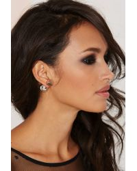 Nasty Gal | Metallic Square Off Jacket Earrings | Lyst