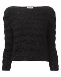Saint Laurent - Black Metallic Thread Stripe Sweater - Lyst