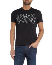 Armani Jeans | Black Regular Fit Web Logo Printed T Shirt for Men | Lyst