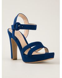 c9837605d0f Lyst - Gianvito Rossi Chunky Heel Sandals in Blue