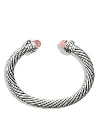 David Yurman - Metallic Cable Classics Bracelet With Morganite & Diamonds - Lyst