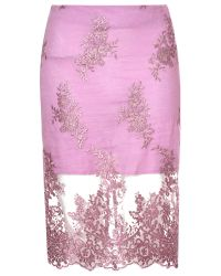 True Decadence - Pink Lace Organza Pencil Skirt - Lyst