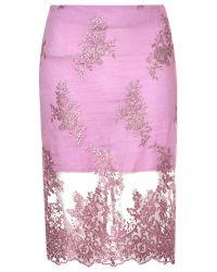 True Decadence | Pink Lace Organza Pencil Skirt | Lyst