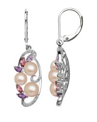 Lord & Taylor | White Sterling Silver Freshwater Pearl Diamond Earrings With Amethyst And Pink Tourmaline | Lyst
