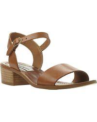 8408422fb591d9 Lyst - Steve Madden Dense Leather Block Heel Sandals
