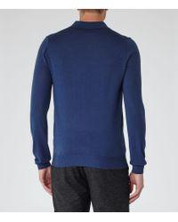 Reiss - Blue Mansion Merino Wool Polo Shirt for Men - Lyst