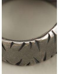 Bottega Veneta - Metallic Scratched Effect Ring for Men - Lyst
