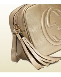 Gucci - Brown Soho Metallic Leather Disco Bag - Lyst