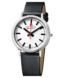 Mondaine | Black 'stop 2 Go' Leather Strap Watch | Lyst