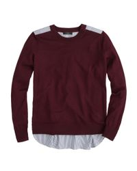 J.Crew - Red Mixed Media Sweater - Lyst