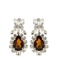 Miu Miu | Brown Crystal Clip-on Earrings | Lyst