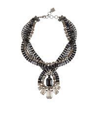 BCBGMAXAZRIA - Gray Twisted Stone Statement Necklace - Lyst