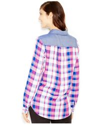 Kensie | Blue Yarn-dyed Plaid Contrast Shirt | Lyst