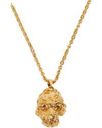 Alexander McQueen - Metallic Gold Forest Rose Skull Pendant - Lyst