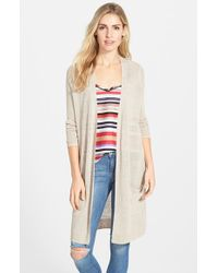 Halogen | Brown Long Linen Blend Cardigan | Lyst