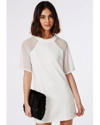 Missguided - White Mesh Shoulder T-shirt Dress Ivory - Lyst