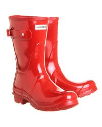 Hunter | Red Short Classic Wellies | Lyst