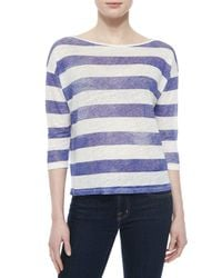 Neiman Marcus - Purple 3/4-sleeve Striped Linen Top - Lyst