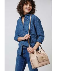 TOPSHOP - Natural Bucket Bag With Circle Lock - Lyst
