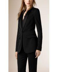 Burberry - Black Satin-lapel Stretch Wool Jacket - Lyst