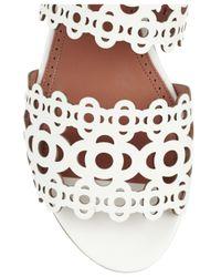 Alaïa   White Laser-Cut Patent-Leather Sandals   Lyst