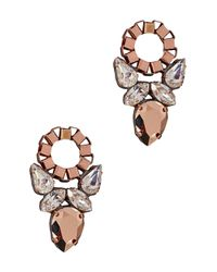 John & Pearl | Pink Lotus Swarovski Crystal Cluster Earrings | Lyst