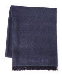 Valentino   Blue Logo Scarf for Men   Lyst