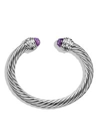 David Yurman | Metallic Cable Classics Bracelet With Amethyst & Diamonds | Lyst